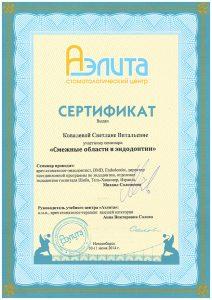 Сертификат Ковалёва Светлана Витальевна
